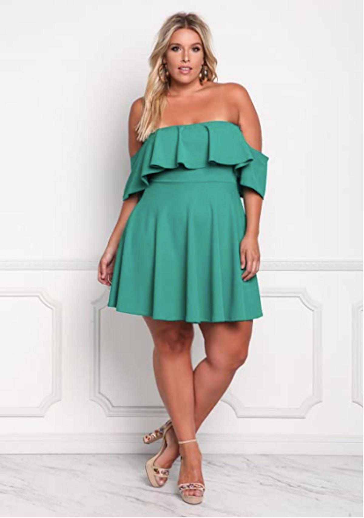 ROSIANNA Plus-Size Off The Shoulder Ruffled Mini Dress