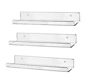 """hblife 15"""" Clear Acrylic Floating Wall (3-Pack)"""