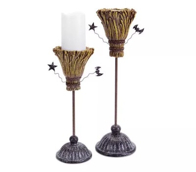 Diva At Home Pack of 2 Brown and Gray Glittering Witch Broomstick