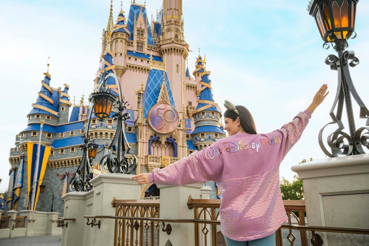 Disney World's 50th anniversary merch includes a Spirit Jersey and ears.