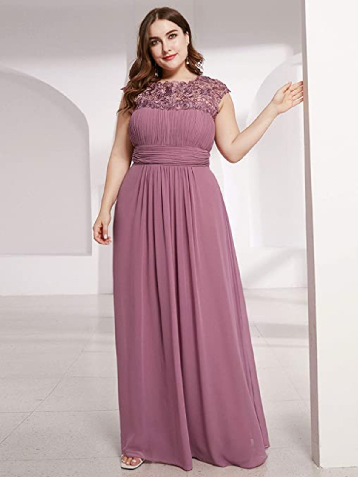 Ever-Pretty Plus-Size Chiffon And Lace Long Formal Dress