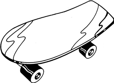 Skateboard Coloring Page: skateboard with two lightning bolts on it