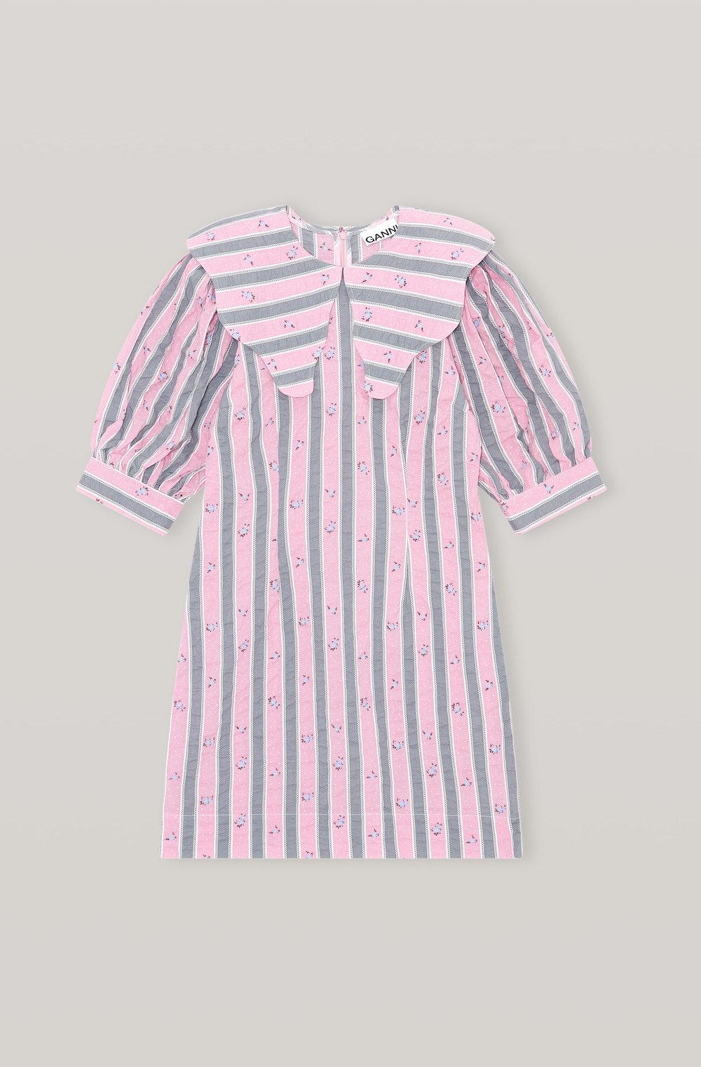 Cotton Seersucker Collar Mini Dress