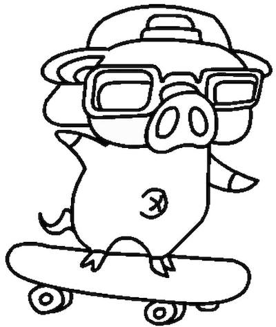 Skateboarding Coloring Page: Big wearing sunglasses and backwards baseball cap, riding on skateboard