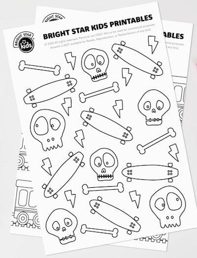 Skateboard Coloring Page: Collage of cartoon skulls, bones, lightning bolts, and skateboards