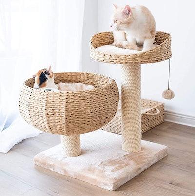 PetPals Natural Bowl-Shaped Cat Tree