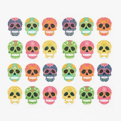 set of 12 colorful skull stickers with glitter