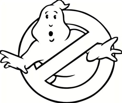 """Ghost Coloring Page: """"Ghostbusters"""" symbol"""