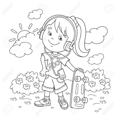 Skateboard Coloring Page: Young girl standing in garden with skateboard, smiling