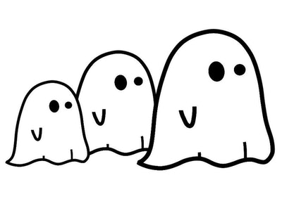 Ghost Coloring Page: Three ghosts in a line
