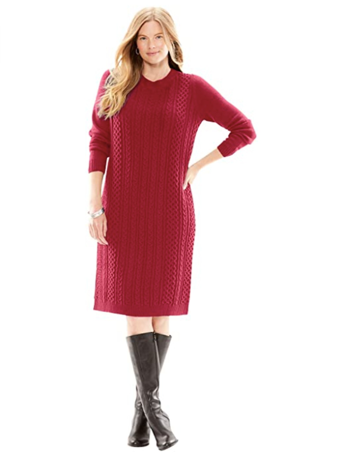Woman Within Plus Size Cable Knit Sweater Dress