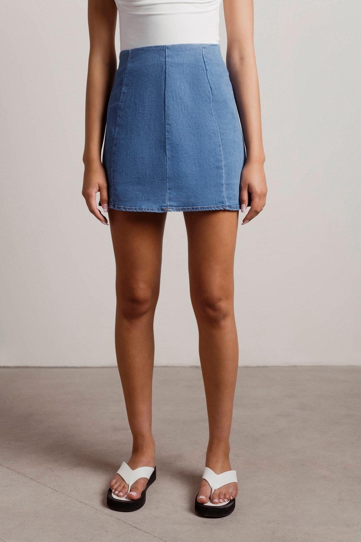 Tell You What Denim Bodycon Mini Skirt