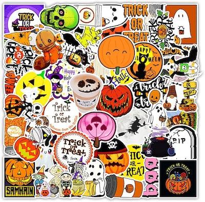 closeup of 50 vinyl Halloween stickers, colorful