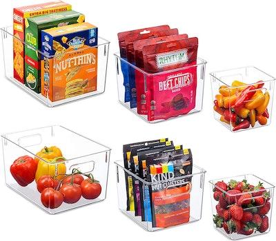 Seseno Clear Pantry Organizer Bins (Set of 6)