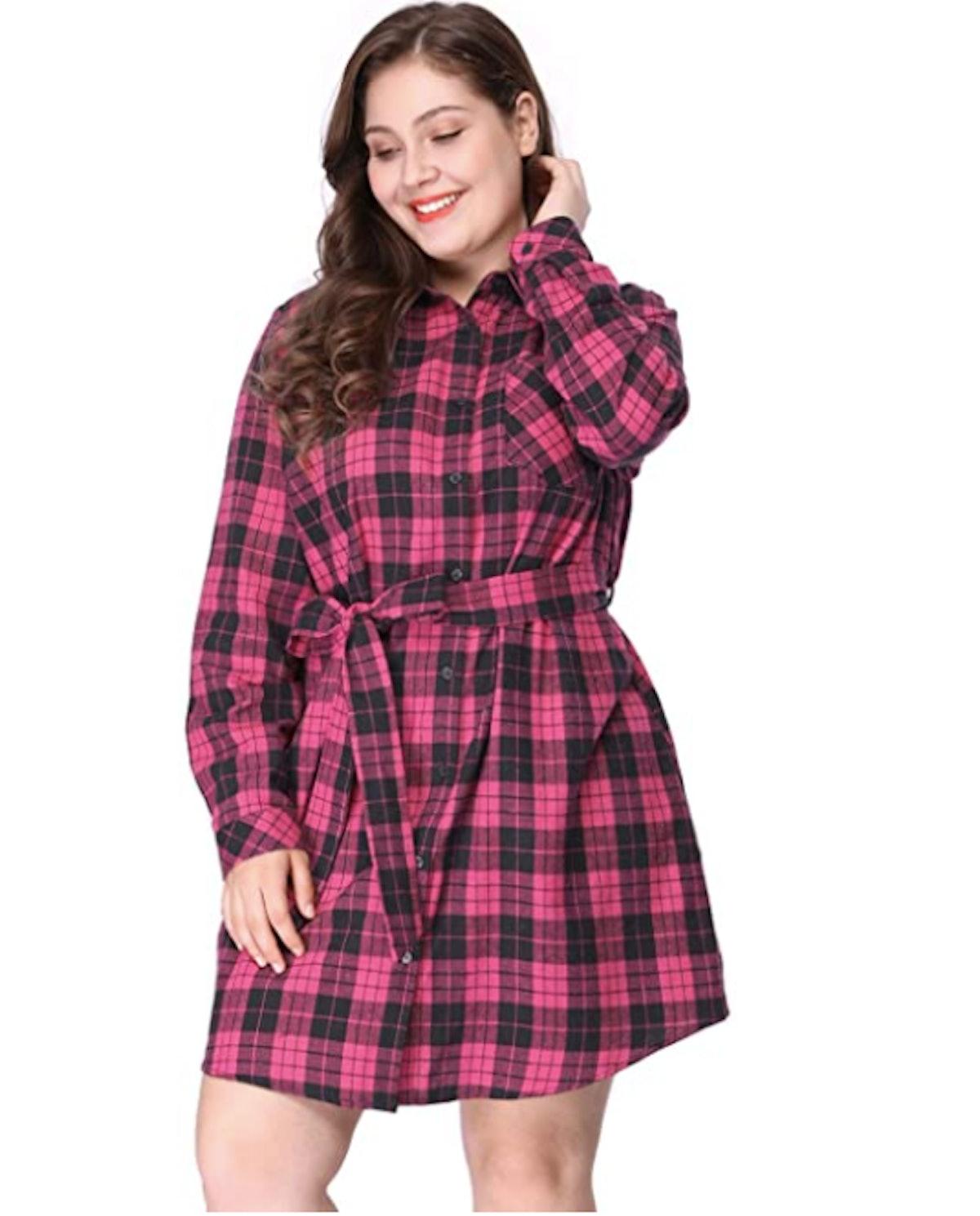 Agnes Orinda Plus Size Plaid Dress