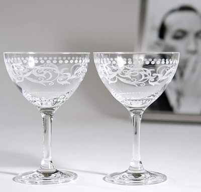 "The History Company Cole Porter ""Ritz Bar"" Champagne Glasses (Set of 2)"