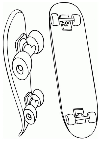 Skateboard Coloring Page; two skateboards, one with top view the other with side view