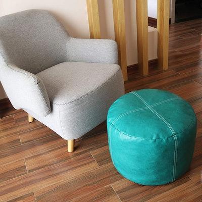 Thgonwid Unstuffed Faux Leather Pouf Storage