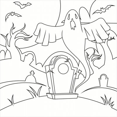 Ghost Coloring Page: Ghost coming out of crematory, spooky.