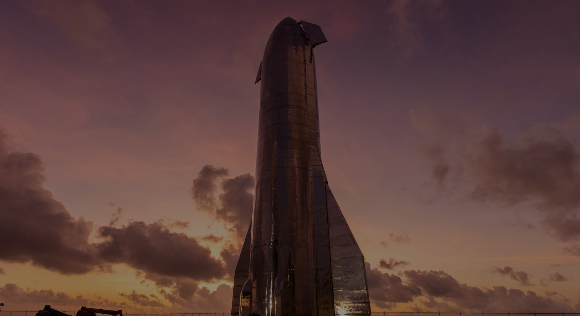 SpaceX Starship against sunset