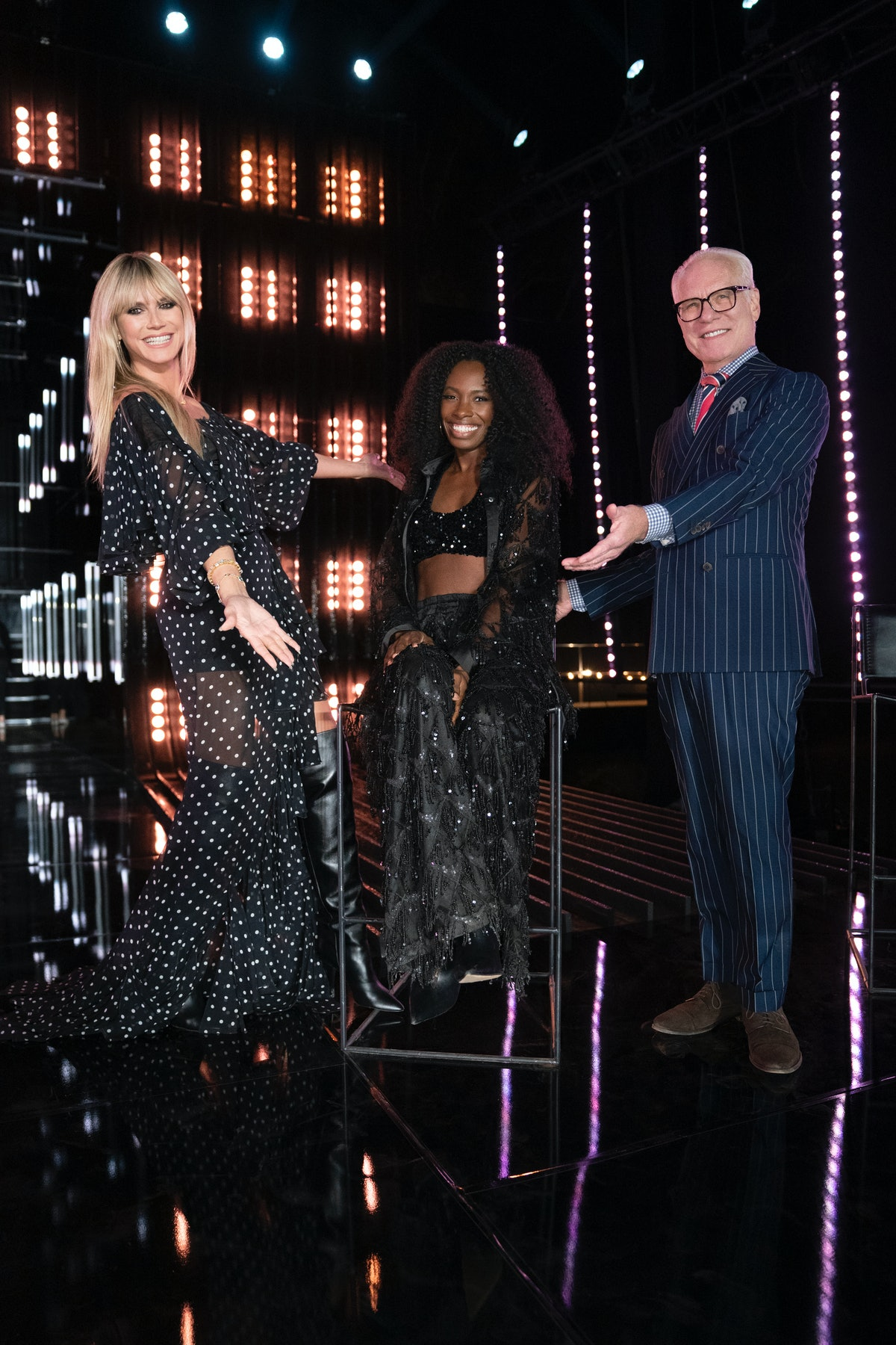 """Andrea Pitter with Heidi Klum and Tim Gunn on Amazon Fashion's 'Making the Cut."""""""