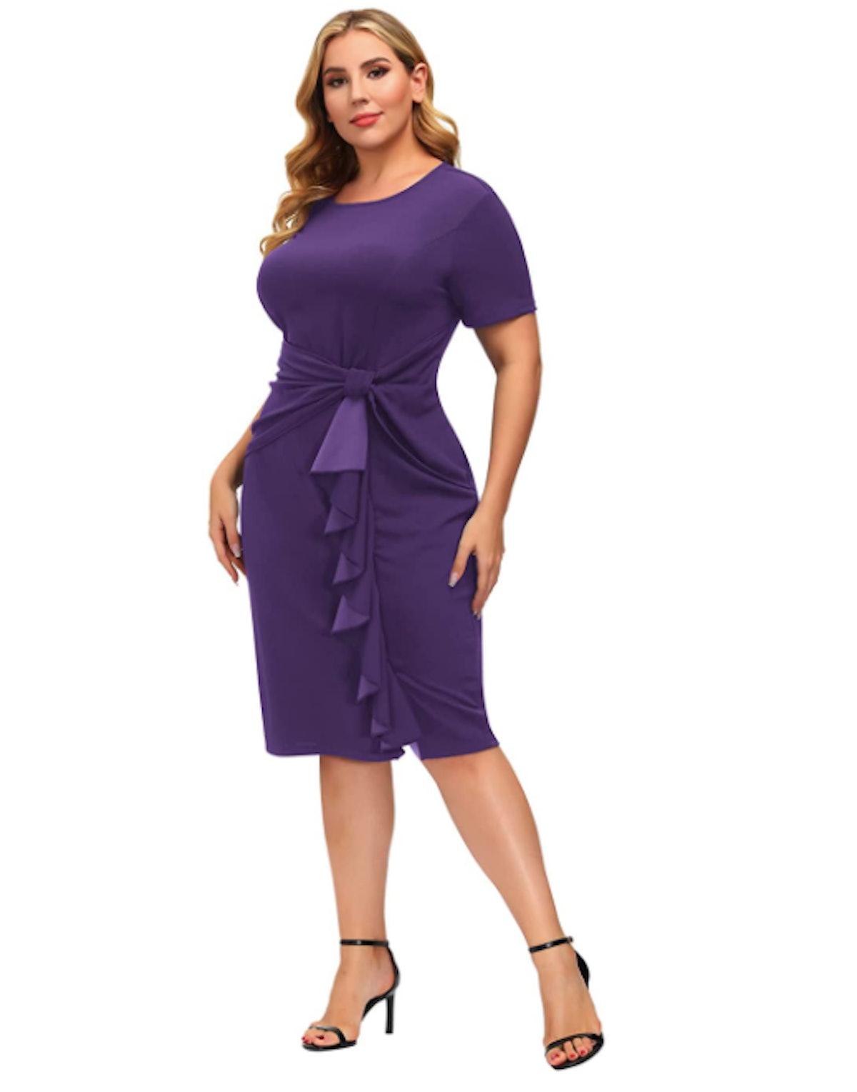 Hanna Nikole Plus-Size Ruffled Pencil Dress