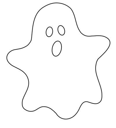 Ghost Coloring Page: Simple cartoon ghost looking straight on