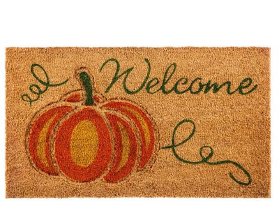 Evergreen Welcome Pumpkin Coir Mat