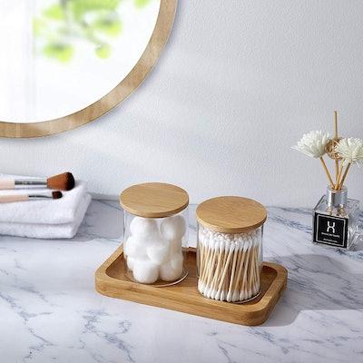 YININE Apothecary Jars with Vanity Tray (Set of 2)