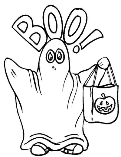 """Ghost Coloring Page: Ghost standing with arms up, holding trick or treating basket, """"Boo"""" written ov..."""