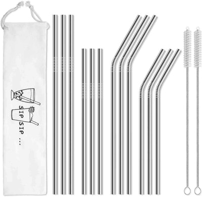 Hiware Reusable Stainless Steel Straws (12-Pack)