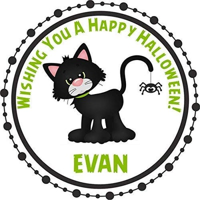cute black cat halloween sticker that can be personalized with child's name