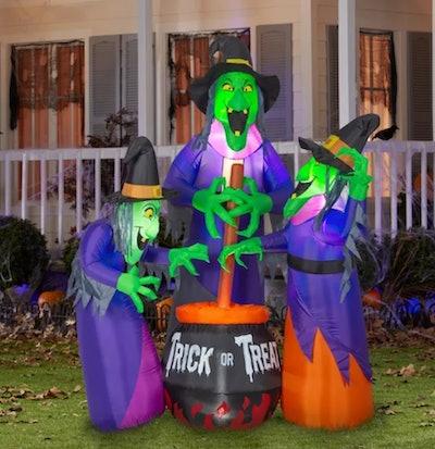 Gemmy Projection Airblown Fire & Ice Three Witches w/Cauldron Scene