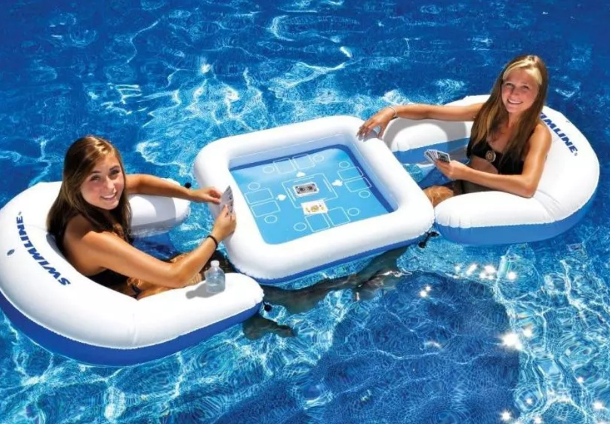 """Swimline 33"""" Inflatable 3-Piece Poker Game Deck and Chairs with Waterproof Playing Cards"""