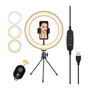 """Flyvii 10"""" Selfie Ring Light with Tripod Stand & Cell Phone Holder"""