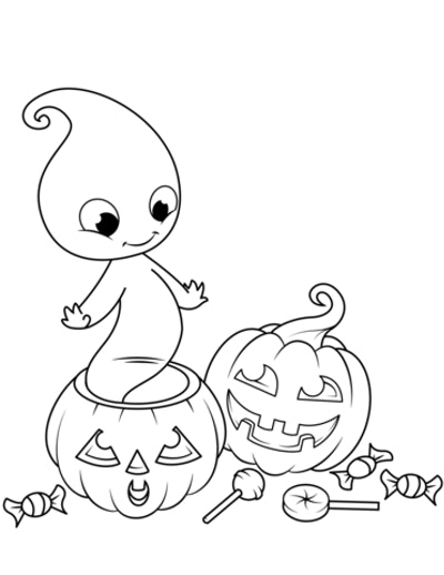 Ghost Coloring Page: Cute ghost coming out of pumpkin, with candy and trick or treat bag