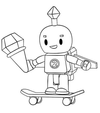 Skateboard Coloring Page: Robot Riding Skateboard