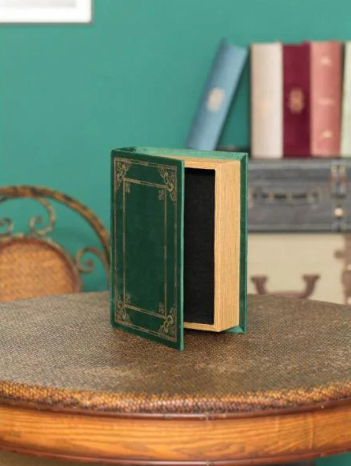 Wooden Vintage Book-Shaped Trinket Storage Box