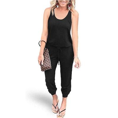 REORIA Elastic Waist Jumpsuit with Pockets