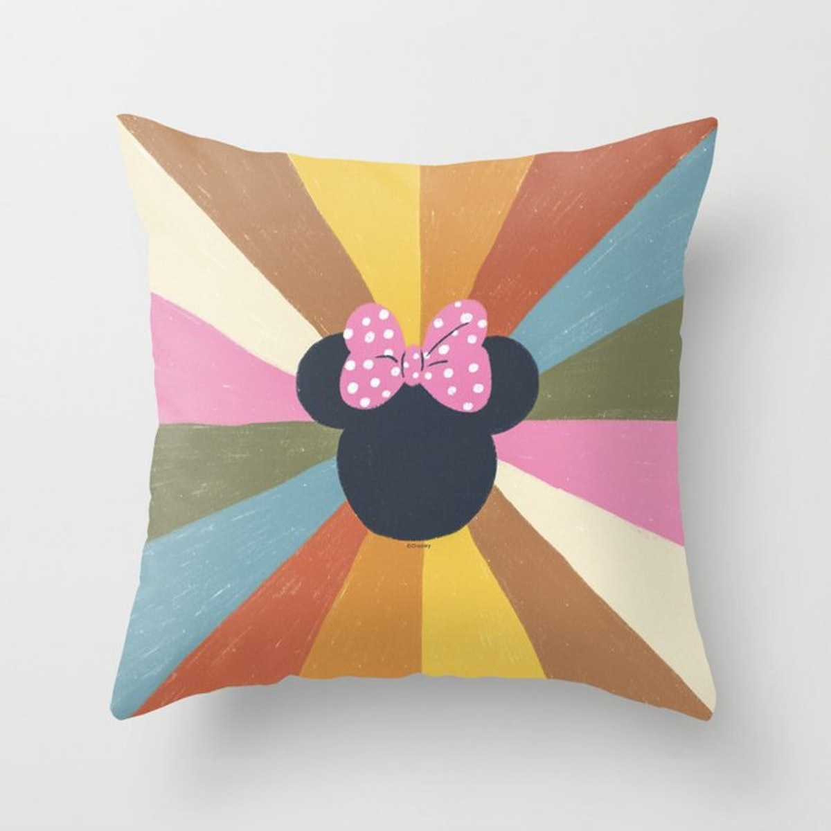 The Society6 Disney Minni Mouse collection has colorful throw pillows and other decor.
