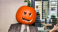 DIY 'The Office' Halloween costumes can include dressing as Dwight with a pumpkin on his head.
