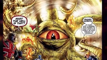 Shuma-Gorath vs. the Marvel universe.
