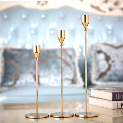 SUJUN Gold Candle Holders (Set Of 3)