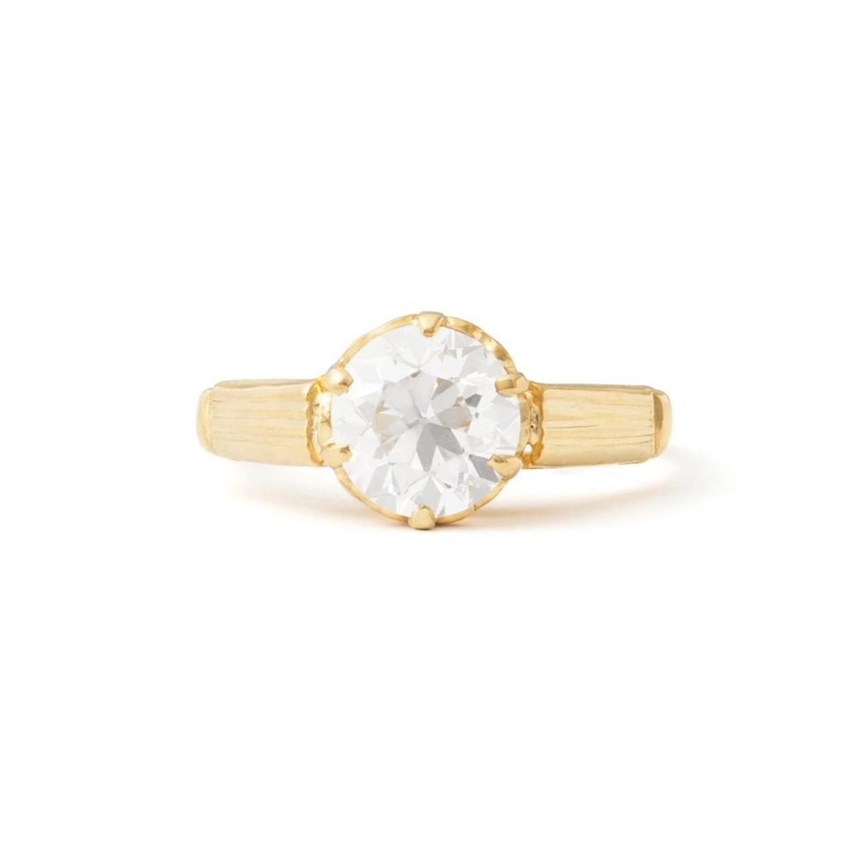 Arts & Crafts 1.60 Carat Old European Cut Diamond Ring in 14k yellow gold from Fox & Bond.