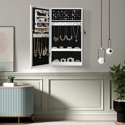 SONGMICS Wall-Mount Mirrored Jewelry Cabinet