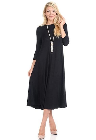 Iconic Luxe A-Line Swing Trapeze Midi Dress