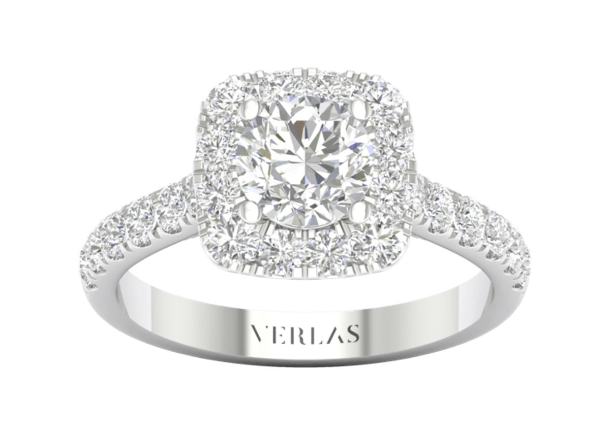 Round-Center Princess Halo Ring in 14k White Gold from VERLAS.