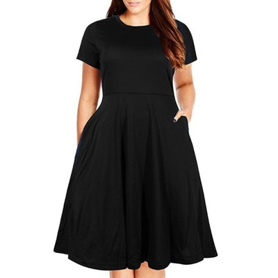 Nemidor Plus Size Fit and Flare Midi Dress with Pocket