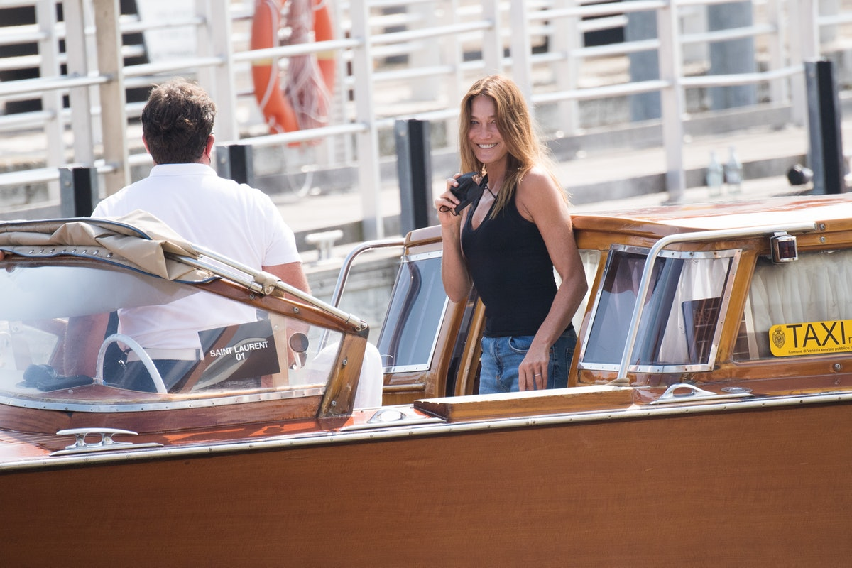 Carla Bruni on the water taxi