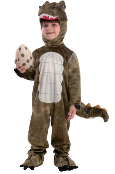 Child wearing a T.Rex costume